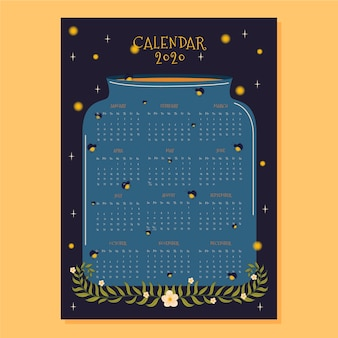 Modello di calendario 2020 design piatto con lucciola