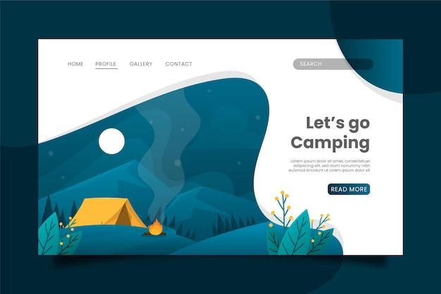 Pagina di destinazione del campeggio design piatto