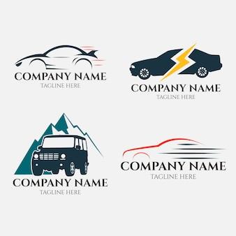 Collezione di logo auto design piatto Vettore Premium
