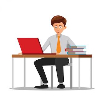 Design piatto del personaggio dei cartoni animati dell'uomo che lavora in ufficio
