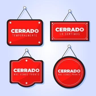 Set di cartelli cerrado design piatto