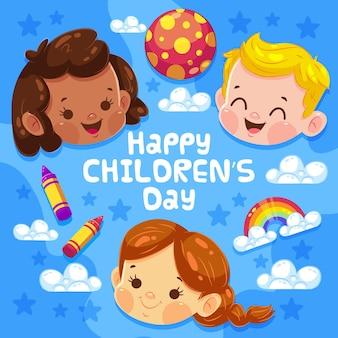 Bambini di giorno di design piatto per bambini sorridenti