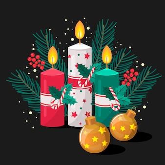 Sfondo di candela di natale design piatto