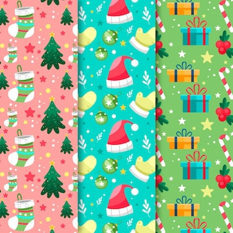 Pacchetto di pattern natalizi design piatto