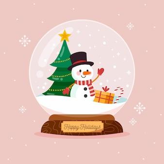Globo di palla di neve di natale design piatto con albero di natale e pupazzo di neve