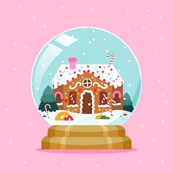 Globo di palla di neve di natale design piatto con casa di marzapane