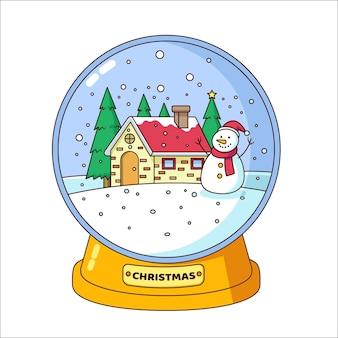 Globo di palla di neve di natale design piatto con pupazzo di neve e casa
