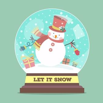 Globo di palla di neve di natale design piatto con pupazzo di neve