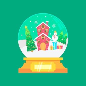 Globo di palla di neve di natale design piatto