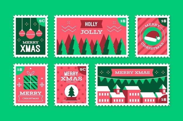 Collezione di francobolli natalizi design piatto