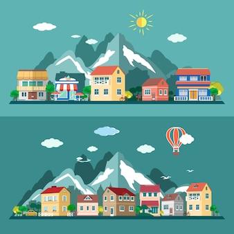 Set di paesaggi di città design piatto. illustrazione