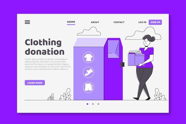 Pagina di destinazione della donazione di abbigliamento design piatto