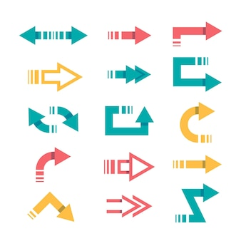 Collezione di frecce colorate design piatto