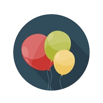 Illustrazione piana di vettore dell'icona dei palloni di concetto di progettazione con ombra lunga. eps10