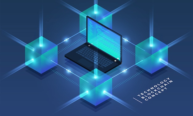 Concetto di design piatto blockchain e tecnologia di criptovaluta