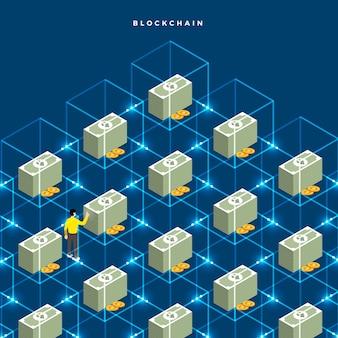 Blockchain di concetto di design piatto