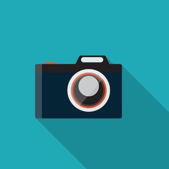 Illustrazione piana di vettore della macchina fotografica di concetto di design con ombra lunga. eps10