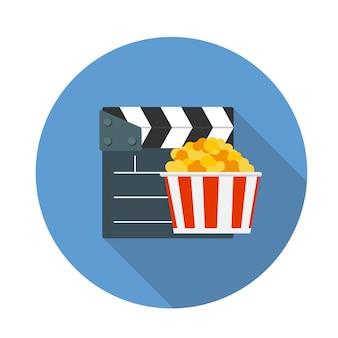 Illustrazione piana di vettore dell'icona del cinema di concetto di design con ombra lunga. eps10