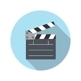 Illustrazione piana di vettore dell'icona del bordo dell'ardesia del cinema di concetto di design con ombra lunga. eps10