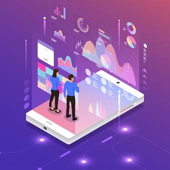 Informazioni sui dati di analisi del marketing digitale di concetto di design piatto del cliente