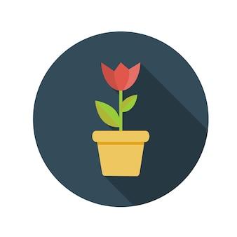 Fiore di concetto di design piatto nell'illustrazione di vettore del vaso con ombra lunga. eps10
