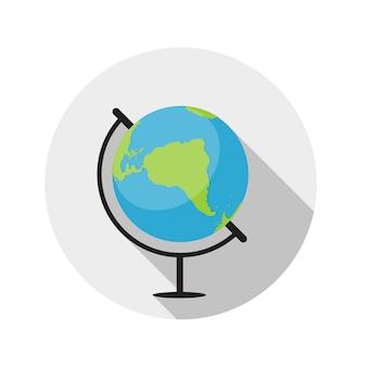 Illustrazione piana di vettore dell'icona del globo di concetto di progettazione con ombra lunga. eps10
