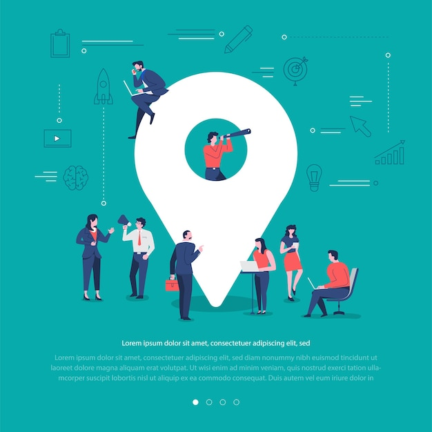 Il gruppo di persone di concetto di design piatto lavora insieme costruendo il check-in della posizione del simbolo della rete sociale