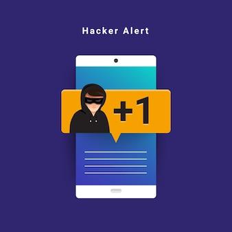 Ladro di cyber di attività di hacker di concetto di design piatto sul dispositivo internet