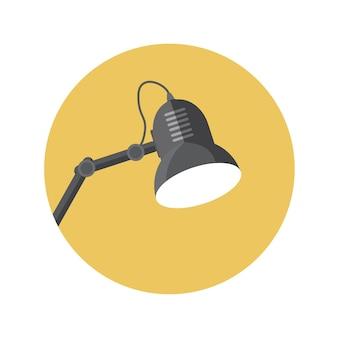 Illustrazione piana di vettore della lampada di concetto di design con ombra lunga. eps10