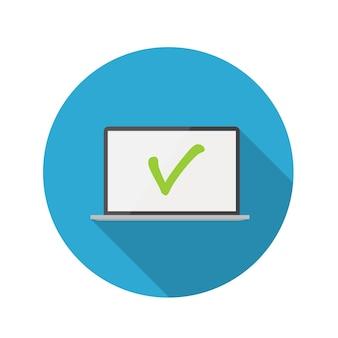 Illustrazione piana di vettore dell'icona del computer portatile di concetto di design con ombra lunga. eps10