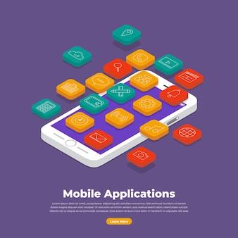 Concetto di design piatto di applicazioni mobili e dispositivo smartphone