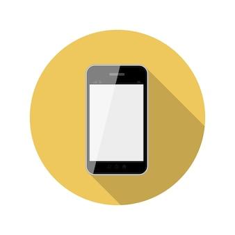 Illustrazione di vettore del telefono di concetto di design piatto con ombra lunga. eps10