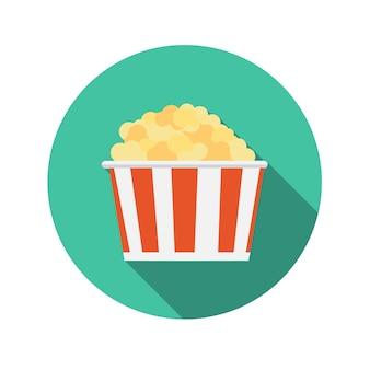 Illustrazione piana di vettore dell'icona del popcorn di concetto di design con ombra lunga. eps10