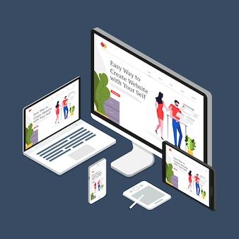 Dispositivi di layout di sviluppo web design reattivo concetto di design piatto su multischermo.