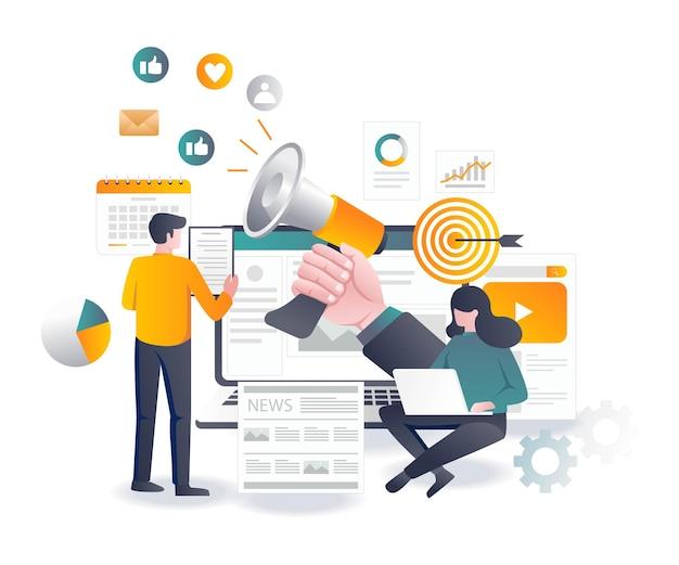Vendite di concept design piatto sui social media e marketing digitale