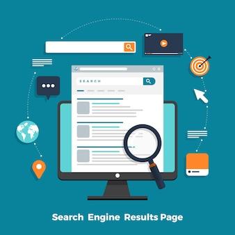Ottimizzazione del motore di ricerca di concetto di design piatto e pagina di classificazione dei risultati