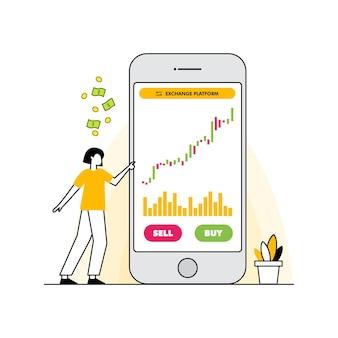 Concetto di design piatto borsa e commerciante affari del mercato finanziario con analisi del grafico grafico