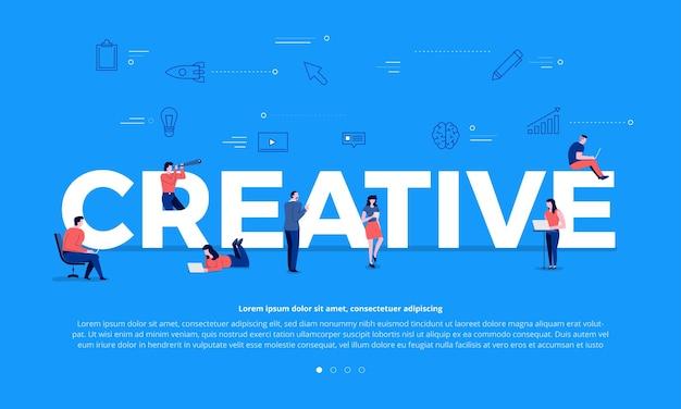 Lavoro di squadra di concetto di design piatto della gente di affari che costruisce testo creativo