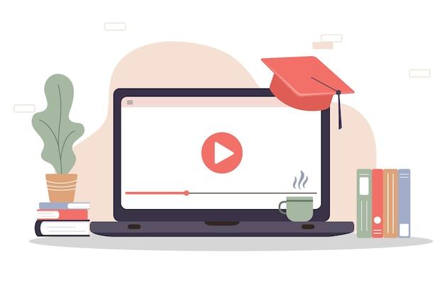 Concetto di design piatto di formazione e video tutorial.