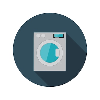 Illustrazione piana di vettore della lavatrice di concetto di design con ombra lunga. eps10