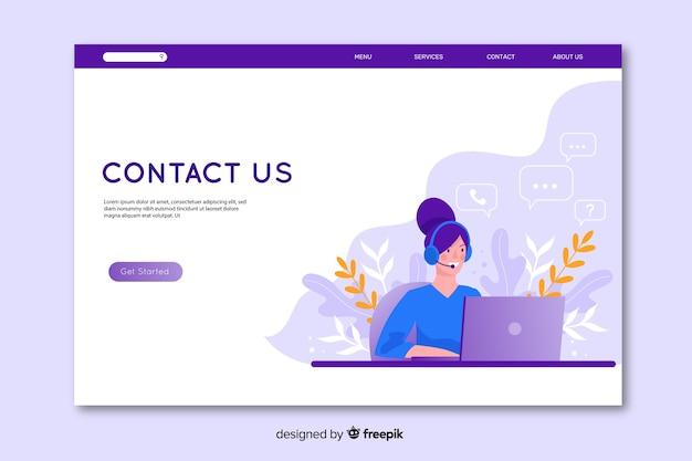 Design piatto contattaci landing page Vettore Premium