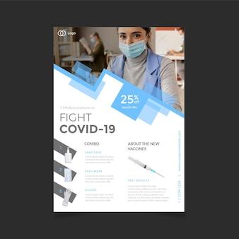 Modello di volantino di prodotti medici coronavirus design piatto con foto