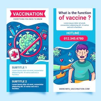 Brochure informativa sulla vaccinazione contro il coronavirus di design piatto