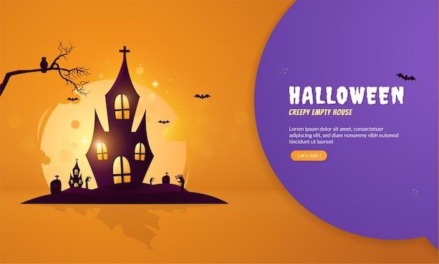 Design piatto di inquietante casa vuota per il concetto di halloween
