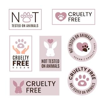 Collezione di badge cruelty free design piatto