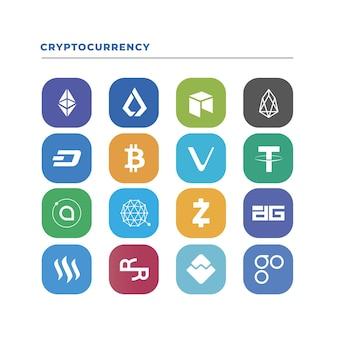 Collezione di logo crypto design piatto