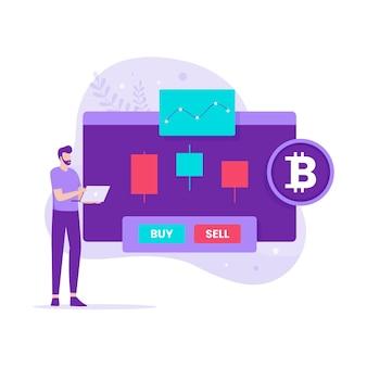 Design piatto del trading di criptovalute. illustrazione per siti web, landing page, applicazioni mobili, poster e banner.