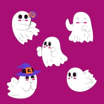 Collezione di fantasmi di halloween carino design piatto