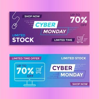 Collezione di banner design piatto cyber lunedì