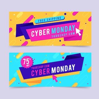 Set di banner design piatto cyber lunedì